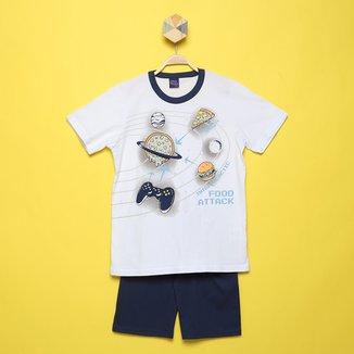 Pijama Curto Infantil Kiko &Kika Brilha No Escuro Espaço Masculino