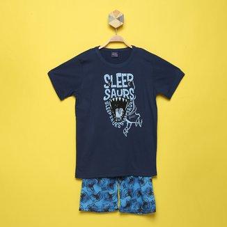 Pijama Curto Infantil Kiko &Kika Hora De Dormir Dinossauro Masculino