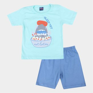 Pijama Curto Infantil Kiko &Kika Puff Dormir Primeiro Masculino