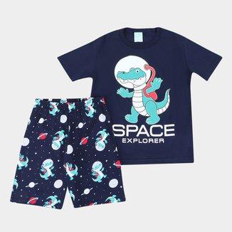 Pijama Curto Infantil Kyly Space Explorer Masculino