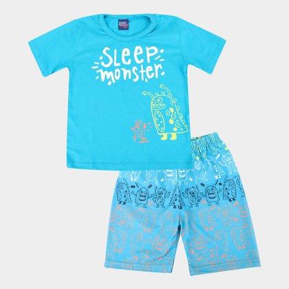 Pijama Curto Infantil Monstrinhos Brilha No Escuro Masculino
