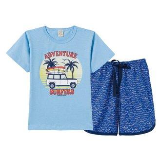 Pijama Curto Infantil Pingo Lelê Adventure Surfers Masculino
