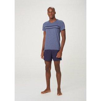 Pijama Curto Masculino Com Camiseta E Bermuda