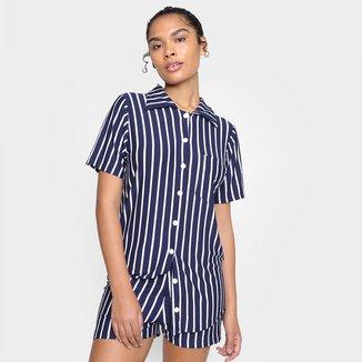 Pijama Curto Volare Listrado Camisa Feminino