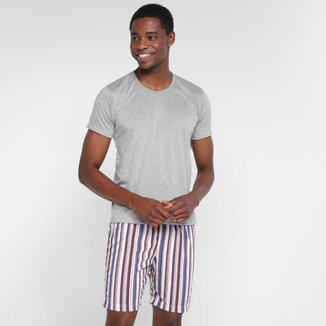 Pijama Dali Camisa Lisa + Bermuda Listrada Masculino