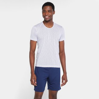Pijama Dali Camisa Listrada + Bermuda Lisa  Masculino