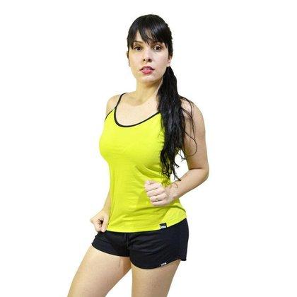 Pijama Diet Fitness Feminino Verão Conjunto Regata de Alça Lisa e Shorts Liso Salmão+Branco M