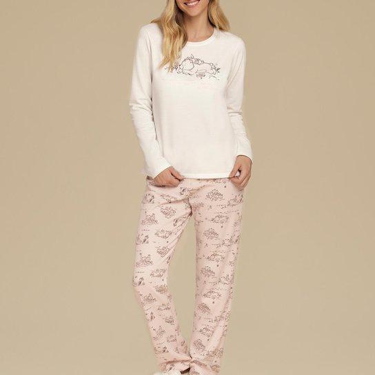 Pijama Feminino No Cor Com Amor - Off White
