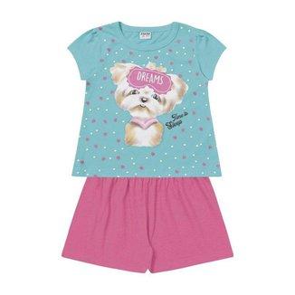 Pijama Infanil Fakini Kids 2 Peças Verão Dreams Feminino