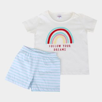 Pijama Infantil Candy Kids Arco Íris Listrado Feminino