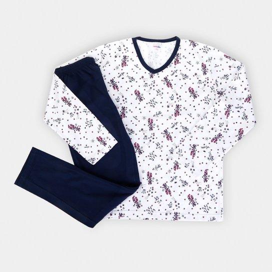 Pijama Infantil Candy Kids Bailarina Feminino - Branco+Marinho