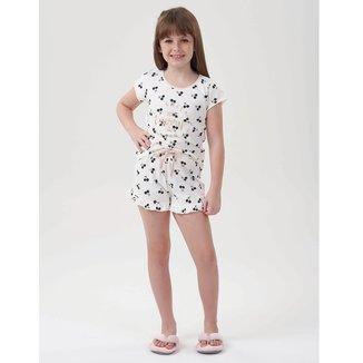 Pijama Infantil Cor Com Amor Shorts Doll Cerejinha Feminino