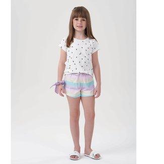 Pijama Infantil Cor Com Amor Shorts Doll Color Block Feminino