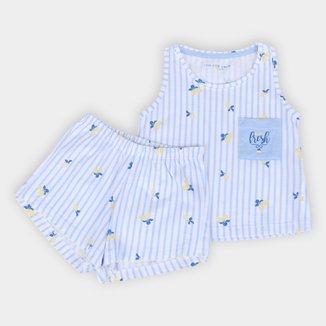 Pijama Infantil Cor Com Amor Shorts Doll E Regata Feminino
