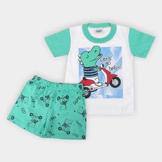 Pijama Infantil Duzizo Dino Brilha no Escuro Masculino