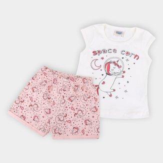 Pijama Infantil Duzizo Unicórnio Brilha no Escuro Feminino
