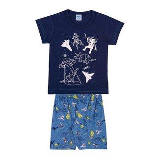 Pijama Infantil Espaço Dino Robô Brilha No Escuro Serelepe