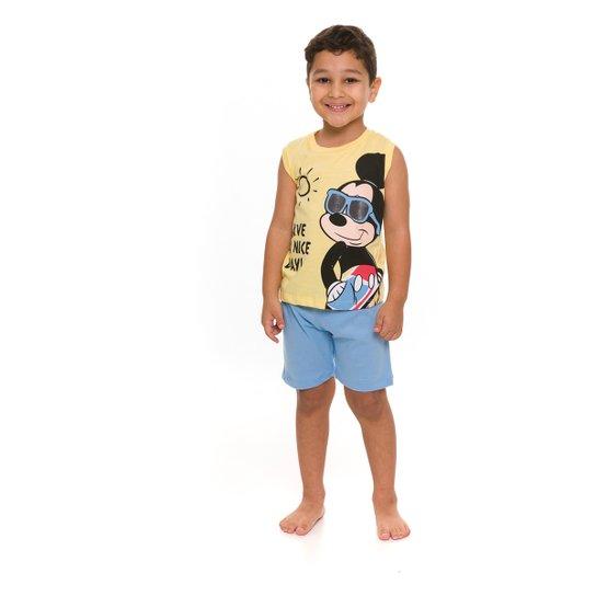 Pijama Infantil Evanilda Disney Mickey Masculino - Amarelo