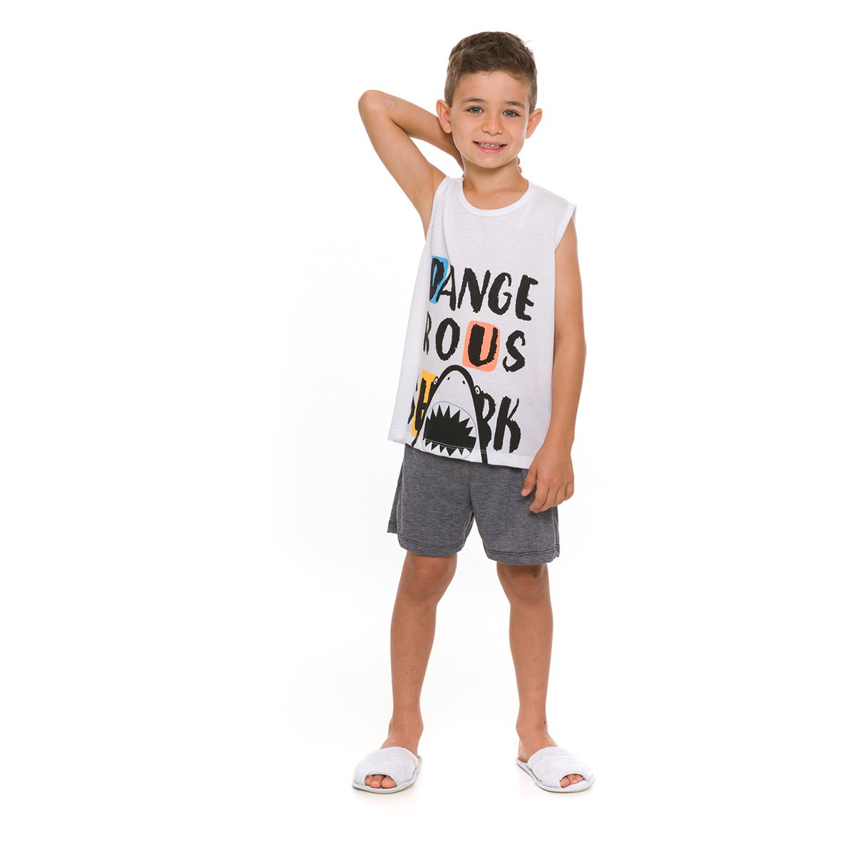 Pijama Infantil Evanilda Shark Feminino