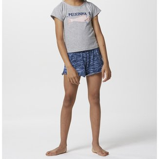 Pijama Infantil Hering Peixinha Camiseta + Short Feminino