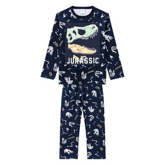 Pijama Infantil Kyly Dino Manga Longa Brilha no Escuro Masculino