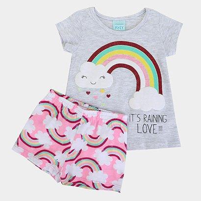 Pijama Infantil Kyly Fluorescente Arco-Íris Feminino