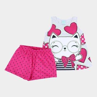 Pijama Infantil Kyly Gatinha Brilha no Escuro Feminino