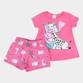 Pijama Infantil Kyly Girafinha Brilha no Escuro Feminino