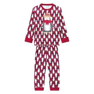 Pijama Infantil Kyly Longo Pinguim Brilha no Escuro Masculino