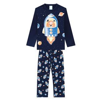 Pijama Infantil Kyly Moletom Peluciado Brilha no Escuro Masculino