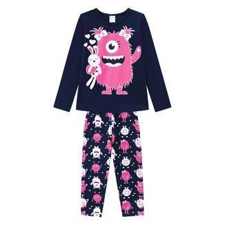 Pijama Infantil Kyly Monstrinho Brilha No Escuro Feminino