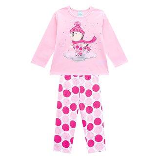 Pijama Infantil Kyly Snow Brilha No Escuro Feminino