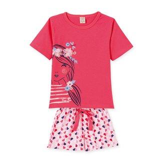 Pijama Infantil Lelê Short Doll Flores Corações Feminino