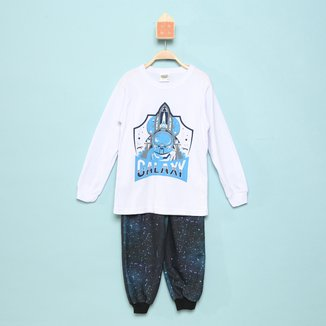 Pijama Infantil Longo Duzizo Listrado Brilha No Escuro