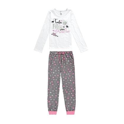 Pijama Infantil Longo Estrelas Malwee Liberta Feminino