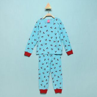 Pijama Infantil Longo Kamylus Meia Malha Cerejas