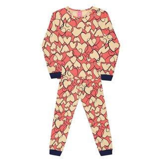 Pijama Infantil Longo Kamylus Meia Malha Corações