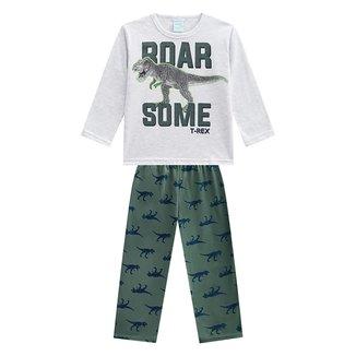 Pijama Infantil Longo Kyly Dinossauro Brilha No Escuro Masculino