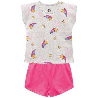 Pijama Infantil Menina Blusa-Short Brilha No Escuro Brandili