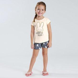 Pijama Infantil Pulla Bulla Meia Malha Hora da Pausa Feminino