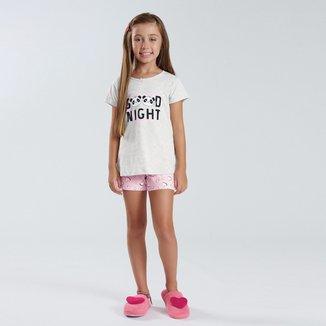 Pijama Infantil Pulla Bulla Meia Malha Pandinhas Feminino
