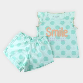 Pijama Infantil Shorts Doll Cor Com Amor Smile Feminino