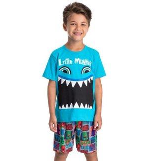 Pijama Infantil Verão Camiseta e Bermuda Monstrinho Brilha no escuro Tam 1 a 10 - Gueda