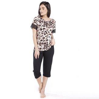 Pijama Inspirate Capri Animal Print Feminino