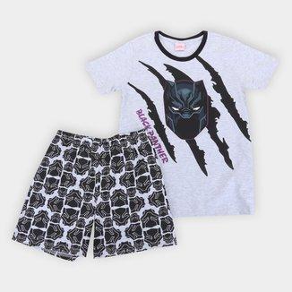 Pijama Juvenil Curto Evanilda Marvel Pantera Negra Masculino
