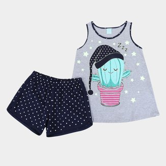 Pijama Juvenil Kyly Cacto Brilha no Escuro Feminina