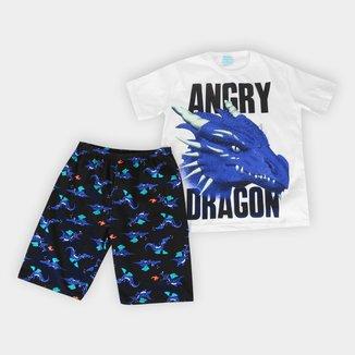 Pijama Juvenil Kyly Dragon Brilha no Escuro Masculino