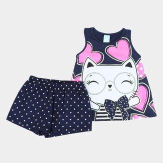 Pijama Juvenil Kyly Gatinha Brilha no Escuro Feminino