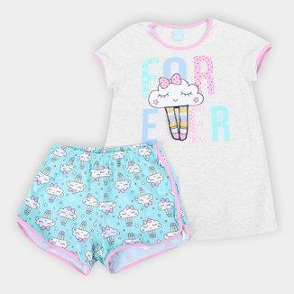 Pijama Juvenil Kyly Nuvem Brilho no Escuro Feminino