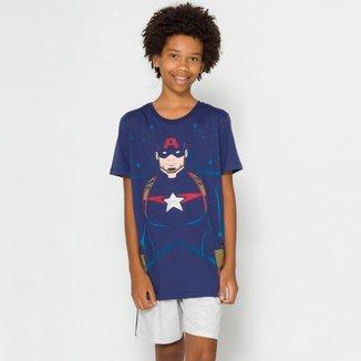 Pijama Juvenil Menino Capitão América Marvel 53.05.0010